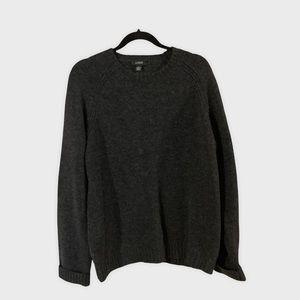 J. CREW Charcaol Gray Men's 100% Lambs Wool Crew Neck Sweater L